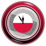 Clock with a flag of Poland — Stock Vector