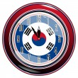 Vector de stock : Clock with flag of South Korea