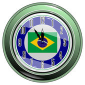 Clock with a flag of Brazil — Stock Vector