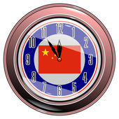 Clock with a flag of China — Stock Vector
