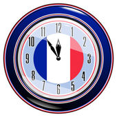 Clock with a flag of France — Stock Vector