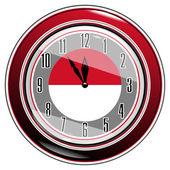 Monako bayrağı ile saat — Stok Vektör