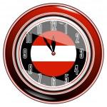 Clock with a flag of Austria — Stock Vector