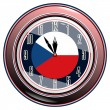 Stock Vector: Clock with flag of Czech Republic
