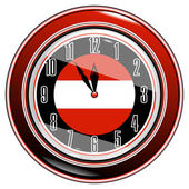 Clock with a flag of Austria — Stock Vector