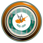Clock with a flag of Cyprus — Stock Vector