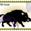Ector stamp with wild boar — Stock Vector