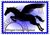 Vector stamp with winged horse Pegasus — Stock Vector
