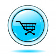 Button blue shopping cart icon vector — Stockvektor
