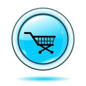 """Düğmesi """"alışveriş sepeti simgesini"""" mavi vektör — Stok Vektör"""