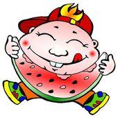 Chłopiec, z przyjemnością jedzenie wektor arbuz — Wektor stockowy