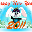 "Post card ""Happy new year!"" 2011 with a rabbit vector — Stock Vector"