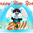 "Stock Vector: Post card ""Happy new year!"" 2011 with a rabbit vector"