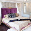 King Size Bed in modern bedroom — Stock Photo