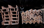 Steel channel U-sections and angles — Stock Photo