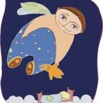 Dream of the little boy — Stock Vector