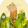 Stock Vector: Cat in grass