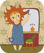 小女孩在早上刷头发 — 图库矢量图片