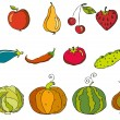 Vegetables and  fruits - Stock Vector