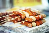 Skewered grilled tasty wooden Asian — Stock Photo