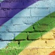 Stock Photo: Rainbow brick wall