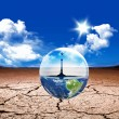 Earth in a water bubble — Stock Photo