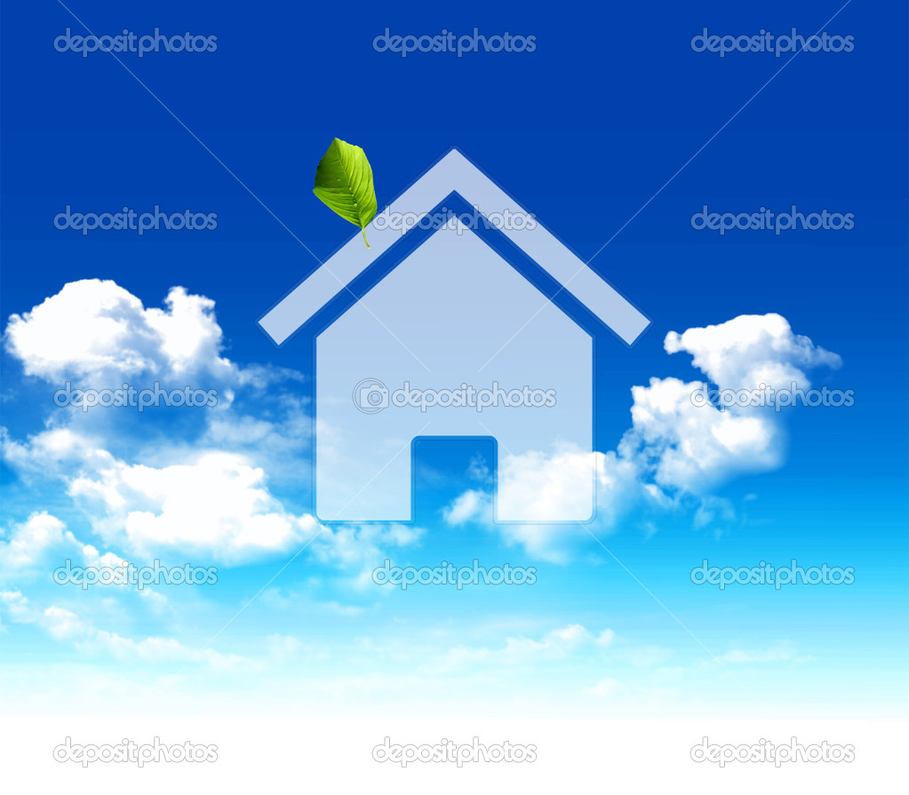 Concept simbol of eco home of a sky with clouds — Stock Photo #2901526