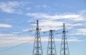 Electric tower connects sky and earth — Stock Photo