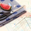 Pattern scissors and a fabric — Stock Photo