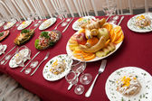 The big celebratory dining table — Stock Photo