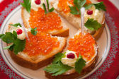 Sandwiches With Caviar — 图库照片