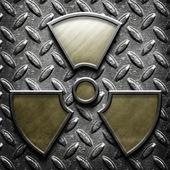Silver Metal Texture Radioactive sign — Stock Photo