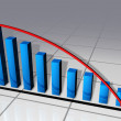 Blue bars and red curve business chart - Stock Photo