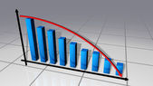 Blue bars and red curve business chart — Stock Photo