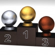 Soccerball podium — Stock Photo