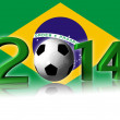 2014 soccer logo with brazil flag - Stock Photo