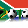 2010 soccer logo with south africa flag - Stock Photo