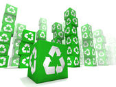 Many box with white and green recycle sign — Stock Photo