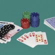 Poker gaming table with cards and bets — Stock Photo