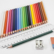 Very tidy basic school supplies — Stock Photo