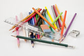 Confused basic school supplies — Stock Photo