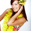 Stock Photo: Beautiful girl - Hawaiian style