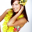 Beautiful girl - Hawaiian style - Stock Photo