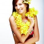 Beautiful girl - Hawaiian style — Stock Photo