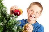 Jul och unga boy — Stockfoto