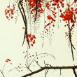 Red Blossom Tree on Handmade Paper — Stock Photo