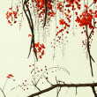 Stock Photo: Red Blossom Tree on Handmade Paper