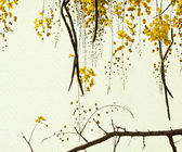Golden Shower Tree on Handmade Paper — Stock Photo