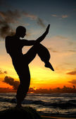 Arte marcial figura na praia — Foto Stock