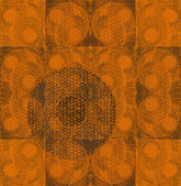 Grunge orange decorative circle print background — Stock Photo